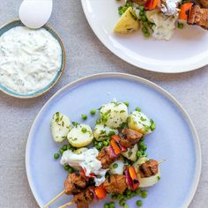 Tandoori Lamb Skewers with Minted Potatoes, Peas and Raita Tandoori Lamb, Lamb Skewers, Baby Potatoes, Taste Buds, Spice Things Up, I Foods, Cobb Salad, Spices
