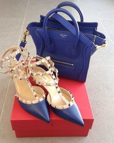 Yes please! Perfect blue duo Celine bag and Valentino pumps.