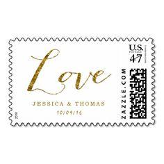 Chic Faux Gold Foil Custom Wedding Love Postage