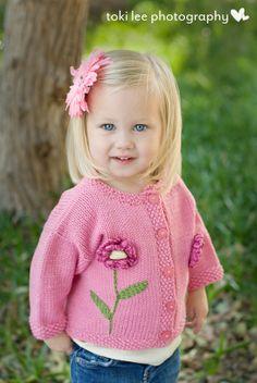 Hand Knit Baby Sweater Girls