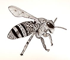 Zentangle bee by George Draws Part of the Zentangle project