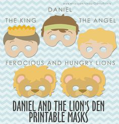 Daniel and the Lions Den Printable Masks PDF - bible printables - scripture printable - Instant Download by DorkyPrints on Etsy https://www.etsy.com/listing/118066212/daniel-and-the-lions-den-printable-masks
