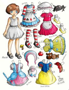 Miss Missy Paper Dolls: Heidi Fairy Tale Style paper doll Imprimibles Toy Story Gratis, Paper Art, Paper Crafts, Art Origami, Paper Dolls Printable, Vintage Paper Dolls, Paper Toys, Paper Puppets, Kirigami