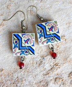 Portugal AntiqueTile Replica Earrings from OVAR pink and by Atrio