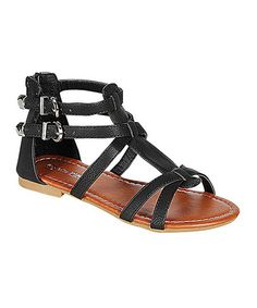 Look what I found on #zulily! Black Paige Zip-Up Gladiator Sandal by PINKY FOOTWEAR #zulilyfinds