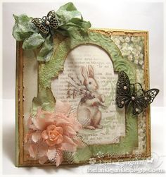 Lovely Shabby Spring Card...with rabbit & embellishments...by Linda Coughlin (The Funkie Junkie).