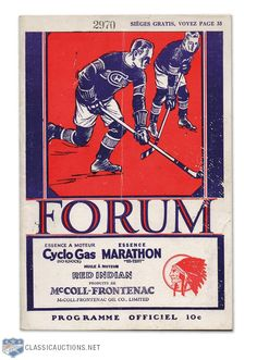 1930-31 Montreal Forum Canadiens vs. Black Hawks Stanley Cup Finals Program Hockey Logos, Ice Hockey Teams, Hockey Players, Montreal Canadiens, History Of Hockey, Montreal Hockey, Hockey Pictures, Native Canadian, Ticket Stubs