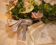 Bouquet Ribbon Sash embroidered with monogram $35