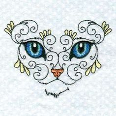 "This free embroidery design is from Design by Sick's ""Swirly Cat Face"" collection."