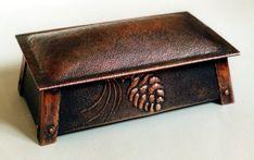 Hammered Copper Pinecone Box - Roycroft Master Artisan Frank M. Glapa | Arts & Crafts | Craftsman | Bungalow