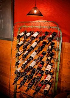 Wine storage with an old bed mattress.