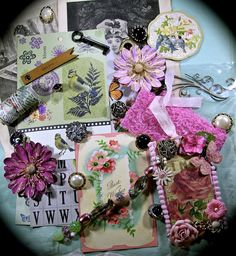 Pink Mini Collection Embellishment Scrapbook Altered by ZeusandZoe, $29.99