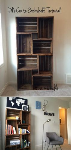 DIY Crate Bookshelf Tutorial - 16 Best DIY Furniture Projects Revealed – Update Your Home on a Budget! DIY Crate Bookshelf Tutorial - 16 Best DIY Furniture Projects Revealed – Update Your Home on a Budget! Diy Home Decor For Apartments, Apartment Decorating On A Budget, Apartment Ideas College, Simple Apartment Decor, Apartment Interior, Cheap Apartment Ideas Budget, Decorating Small Apartments, Cheap Apartments, Decorate Apartment
