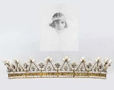 AN ANTIQUE PEARL AND DIAMOND TIARA  Designed as a series of pearl and old-cut diamond arches to the fan- shaped spacers and two-row pearl and engraved gold band (pearls untested), circa 1830, lengthened to wear as a bandeau with gilt metal and imitation pearl back section.  Provenance    Stéphanie de Beauharnais, niece of Empress Josephine and adopted daughter of Napoleon I, married on 25 July 1806 Karl Ludwig, who became Grand Duke of Baden in 1811
