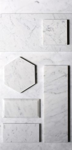 our carrara tile collection is a classic white stone with a mixed fleuri & vein cut that blend to create subtle yet distinctive patterns. these white tiles is perfect for the contemporary setting and an elegant surface material for bathrooms, kitchens and Grey Marble Tile, Carrara Marble Bathroom, Black Marble Bathroom, Marble Bathroom Accessories, Beveled Subway Tile, White Tiles, White Marble Flooring, Subway Tiles, Marble Countertops