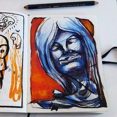Cara azul. lápices de colores, tinta y acuarelas.