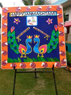 Janmasthami Janamashtami Decoration Ideas, Soft Board Decoration, School Board Decoration, Class Decoration, School Decorations, School Themes, Art N Craft, Craft Stick Crafts, Preschool Crafts