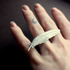 Feather Knuckle Knockout Ring in Silver, Small, Custom Size