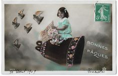 Little Girl Riding Giant Flying Church Bell, Antique Children Collage Photo, Vintage Easter Postcard, Tinted Fantasy Real Photo RPPC by maralecollectibles on Etsy Photo Postcards, Vintage Postcards, Vintage Photographs, Vintage Photos, Collage Photo, Star Logo, Vintage Easter, Vintage Colors, Little Girls