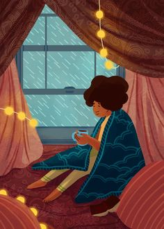 """ashantifortson: """"just trying to find reprieve amidst the storm """" People Illustration, Illustration Art, Cute Images With Quotes, Live Backgrounds, Foto Gif, Walking In The Rain, Found Art, Sad Art, Painting Wallpaper"""