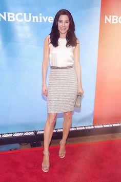 Actress Jaime Murray looking stunning at NBC Press Day in a St John Knits dress.