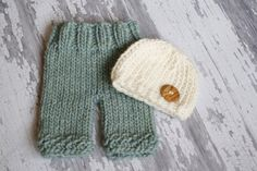 Newborn Sage Green and Ivory Pants Photography Prop with Matching Hat, Baby Boy Props, Newborn Pants, Photo Props. $52.00, via Etsy.