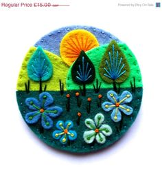 TREESCAPE felt brooch pin with freeform embroidery - scandinavian style Felt Embroidery, Felt Applique, Embroidery Designs, Felt Brooch, Brooch Pin, Flower Brooch, Felted Wool Crafts, Art Textile, Felt Christmas Ornaments