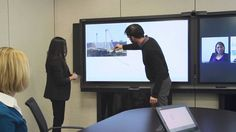 Smart whiteboarding systems allow collaboration on virtual surfaces (vs. traditional physical whiteboards and flip charts).  This is one that integrates with Lync meetings (video conferencing).  Here's the link to the product page: http://www.smarttech.com/Home+Page/Solutions/Business+Solutions
