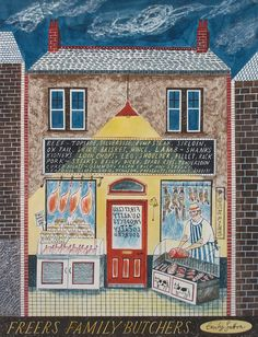 'freers butchers' by Emily Sutton from her book HIGH STREET // St. Jude's