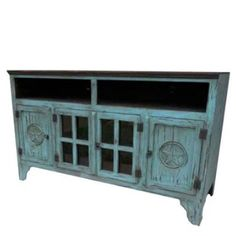 Mexican Star TV Stand Console Antique Turquoise Blue Solid Wood Cabinet Storage | #mexican #mexicanDecor #decor #mexicanHomeDecor #homeAccessories #vintage #vintageCabinet #mexicanFurniture #MexicanVintageFurniture Mexican Decorations, Mexican Home Decor, Mexican Furniture, Home Decor Furniture, Star Tv, Yarn Painting, Mexican Ceramics, Solid Wood Cabinets, Ceramic Sink