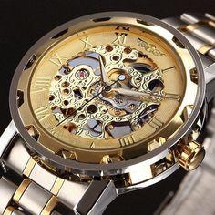 ae532e09a77 WINNER Golden Skeleton Luxury Mechanical Watch. Relogio MecanicoRelógio ...