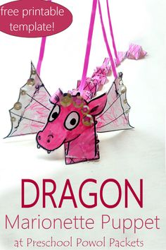 EASY and fun dragon marionette puppet! Perfect for preschool, kindergarten, and elementary school, and fantastic to go with Dragons & Marshmallows! Activities For Autistic Children, Fun Activities For Kids, Book Activities, Preschool Activities, Preschool Kindergarten, Paper Crafts For Kids, Easy Crafts For Kids, Craft Stick Crafts, Fun Crafts