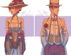 Bioshock Infinite fanart: The Lutece Twins in western costumes. These are incredible.