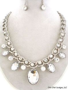 Silver Crystal Rope Style Chunky Necklace & Earrings Set Costume Jewelry