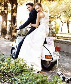 Just Married! Wedding Vespa. Wedding photos on Vespas are very popular.