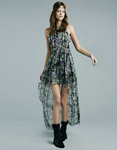 Printed Dress with Asymmetrical helm