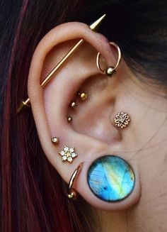 #piercings #pierced #Bodypiercing  Cute piercings , Industrial Piercings