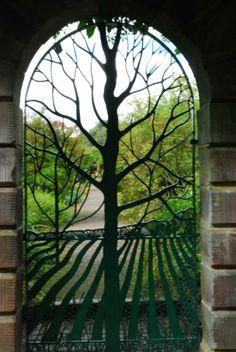 Buena mezcla: un árbol y una puerta.