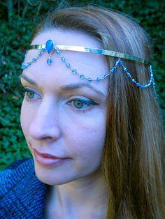 Brass Circlet with Blue Stones by SpiritoftheGoddess on Etsy, $63.00