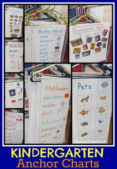 Kindergarten Anchor Charts (hanging from hangers) Pinning for the idea of using hangers for anchor charts