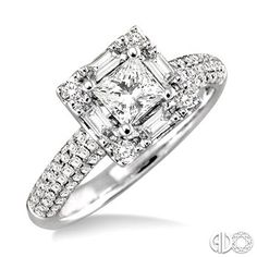 Diamond Engagement Ring Princess Cut Center Stone in 18K White Gold