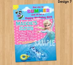 Frozen Summer Invitation  Frozen Summer by KidsPartyPrintables, $9.99
