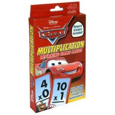 Disney/Pixar Cars Multiplication Learning Game Cards with Stickers (40 Flash Cards) by Bendon Publishing International, Inc. $8.25. 40 multiplication fact cards included. These flash cards teach children multiplication facts from zero to eleven, and includes cards introducing twelve. Each card has the answer on the opposite side in the bottom right corner.  These flash cards make learning multiplication facts fun with their friends from Cars.