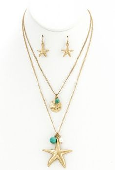 Earrings - Washed Ashore Starfish and Sand Dollar Double Necklace Earring Set in Turquoise