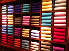 Wall of cashmere at the Ralph Lauren Store