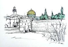 Jerusalém, em giz pastel seco sobre canson