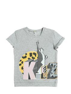 KENZO KIDS - 로고 프린트 코튼 저지 티셔츠 - 티셔츠 & 탱크 - 그레이 - 루시 아나 로마