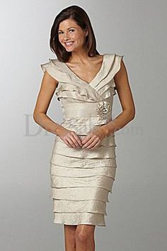 Knee-length Sheath Mother of the Bride Dress with Impressive Tiered Design