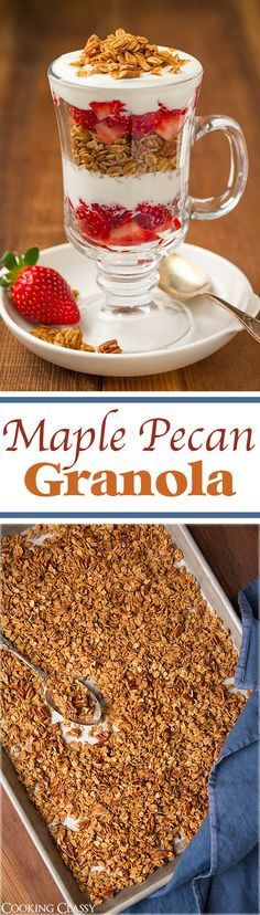 Maple Pecan Granola - This is so easy to make it it's my FAVORITE granola recipe! Only uses 3 Tbsp oil and mostly sweetened with maple syrup. (honey uses maple syrup) Brunch Recipes, Breakfast Recipes, Snack Recipes, Dessert Recipes, Cooking Recipes, Snacks, Breakfast Ideas, Maple Syrup Recipes, Muffins