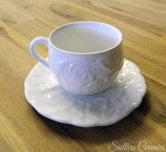 Rose teacup and saucer Winter Day, Teacup, Pretty In Pink, Ceramics, Rose, Tableware, How To Make, Ceramica, Tea Cup